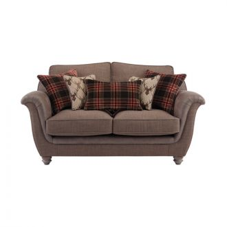 Galloway 2 Seater High Back Sofa in Blyth Fabric - Brown with Brown Check Scatters