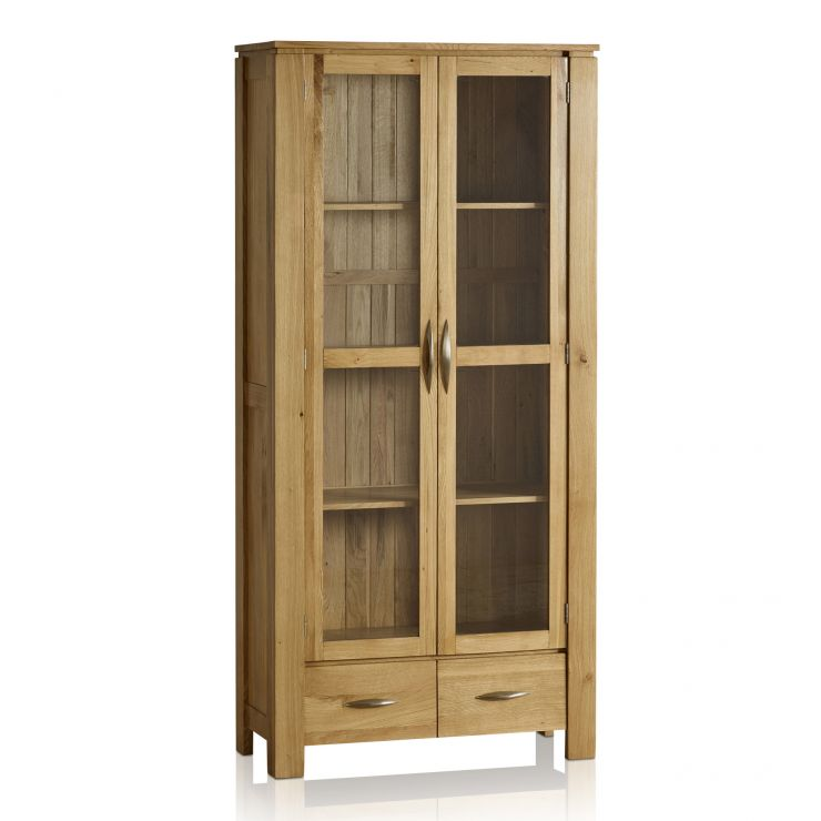 Galway Natural Solid Oak Glazed Display Cabinet - Image 1