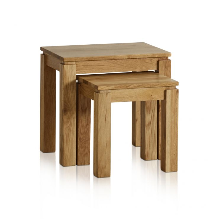 Galway Natural Solid Oak Nest of 2 Tables - Image 1