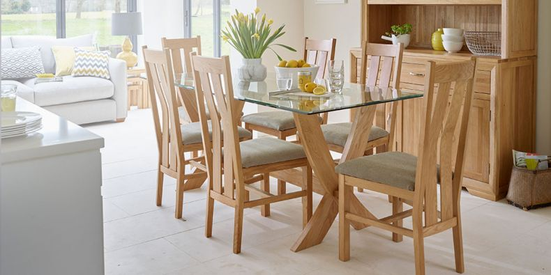 Oak Furniture Land & Glass Dining Table and Chairs | Glass Dining Table Sets |Oak ...