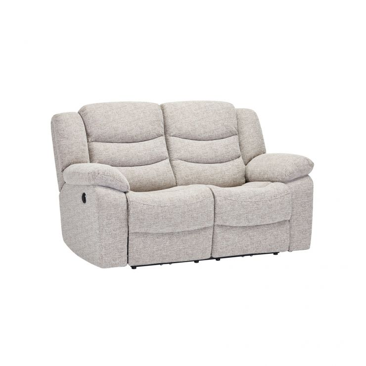 Grayson 2 Seater Electric Recliner Sofa - Silver Fabric - Image 4