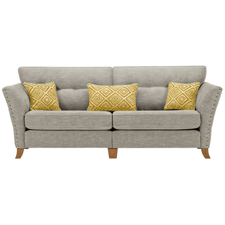 Grosvenor 4 Seater Sofa in Silver with Yellow Scatters - Image 1