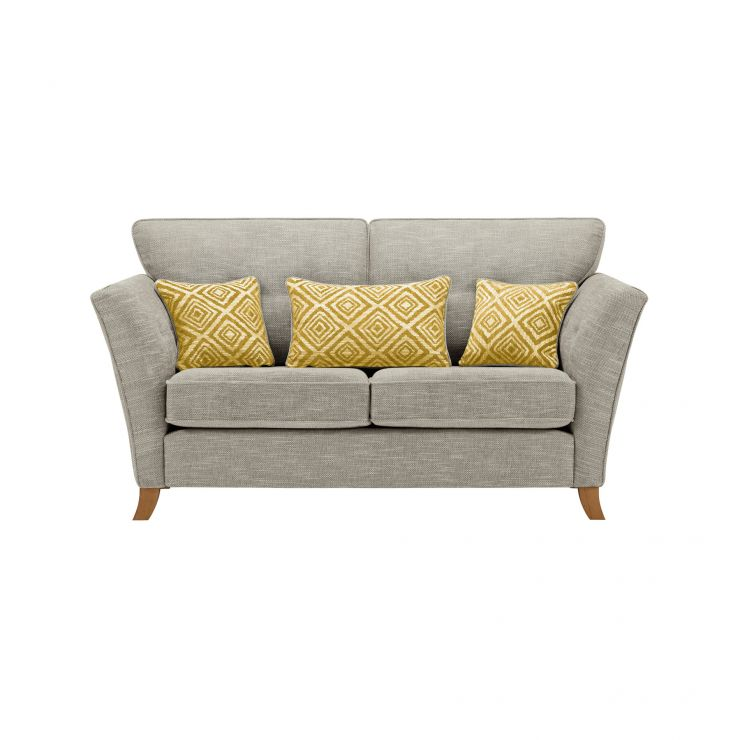 Grosvenor Traditional 2 Seater Sofa in Silver with Yellow Scatters - Image 1