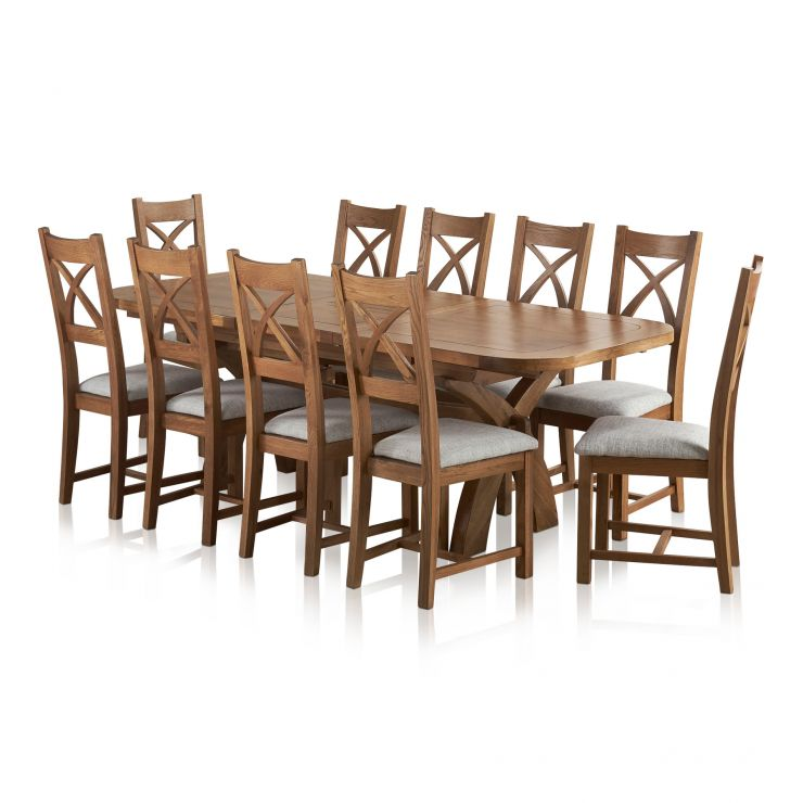 Hercules 6ft Extending Dining Set in Rustic Solid Oak & 10 Cross Back Plain Grey Fabric Chairs