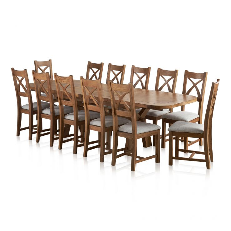 Hercules 6ft Extending Dining Set in Rustic Solid Oak & 12 Cross Back Plain Grey Fabric Chairs - Image 1