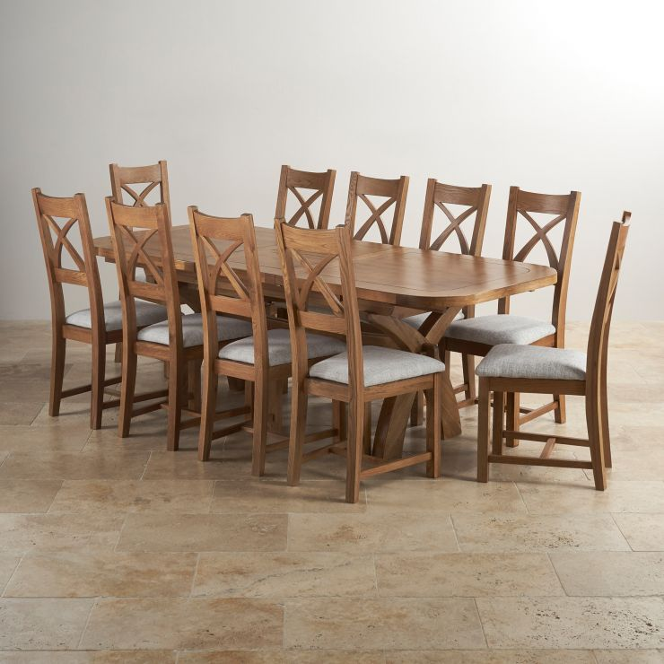 Hercules 6ft Extending Dining Set in Rustic Solid Oak & 10 Cross Back Plain Grey Fabric Chairs - Image 10