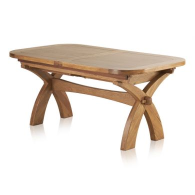 "Hercules 6ft x 3ft 3"" Natural Solid Oak Extending Crossed Leg Dining Table"