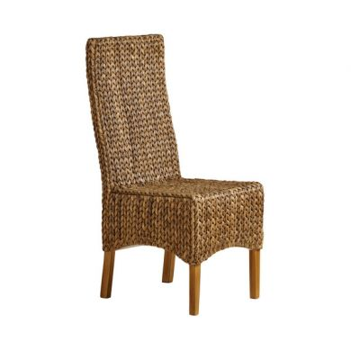 High Back Grass Chair with Solid Mango Legs