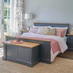 Highgate Rustic Oak and Blue Painted Hardwood Blanket Box - Thumbnail 1