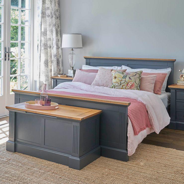Highgate Rustic Oak and Blue Painted Hardwood Blanket Box