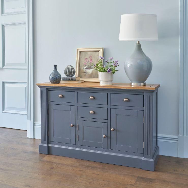 Highgate Rustic Oak and Blue Painted Hardwood Large Sideboard