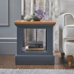 Highgate Rustic Oak and Blue Painted Hardwood Side Table - Thumbnail 1