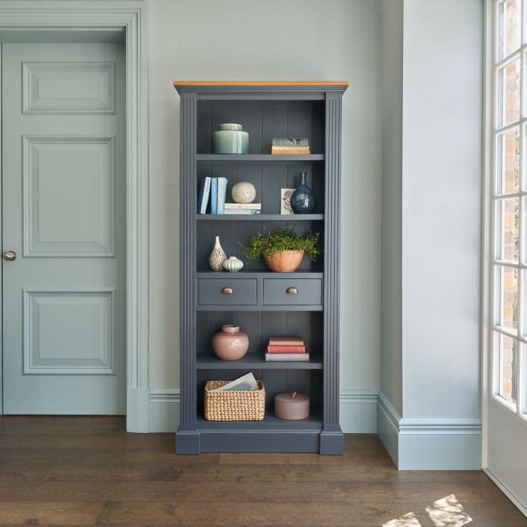 Highgate Rustic Oak and Blue Painted Hardwood Tall Bookcase