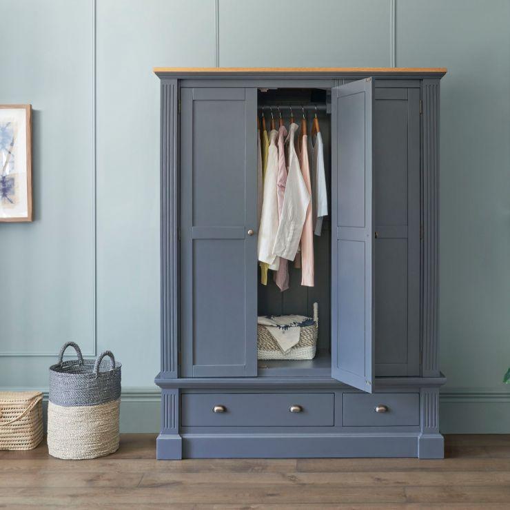 Highgate Rustic Oak and Blue Painted Hardwood Triple Wardrobe