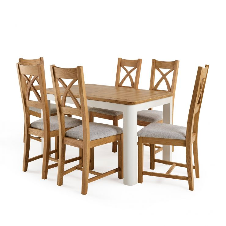 "Hove 4ft 3"" White Extendable Dining Table and 6 Cross Back Chairs"