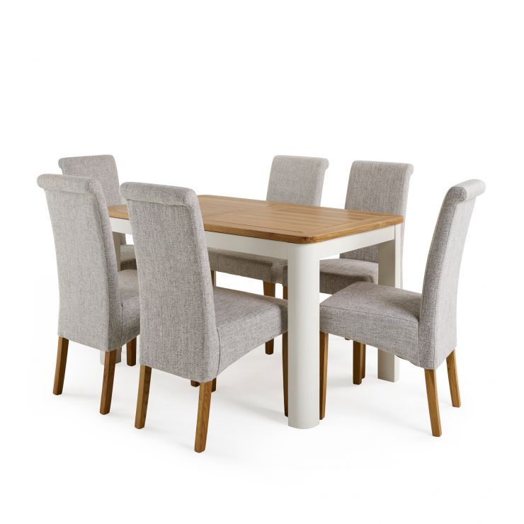 """Hove 4ft 3"""" White Extendable Dining Table and 6 Scroll Back Chairs - Grey"""