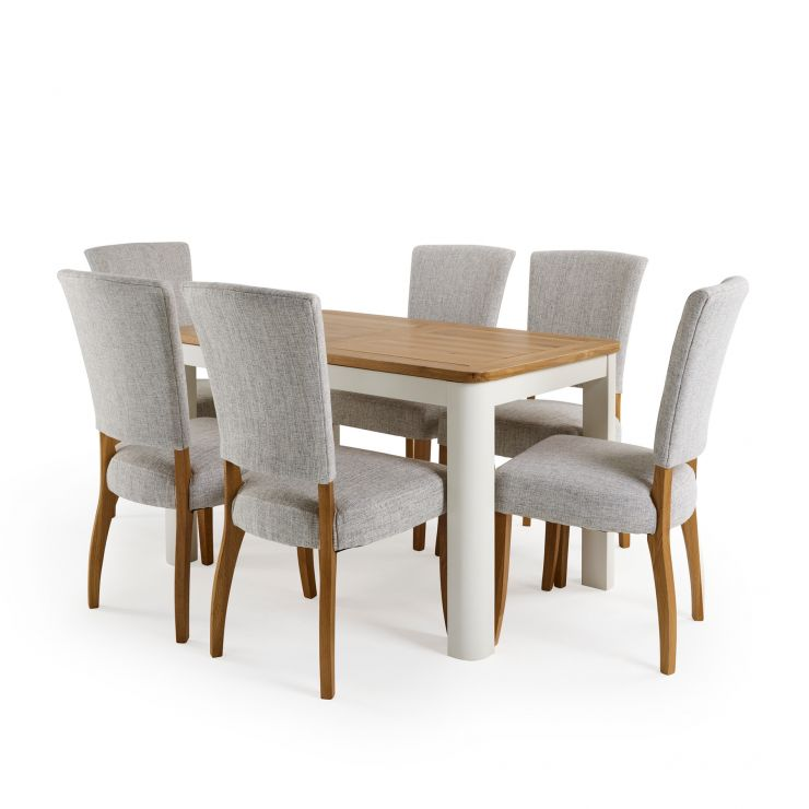 """Hove 4ft 3"""" White Extendable Dining Table and 6 Curved Back Chairs"""