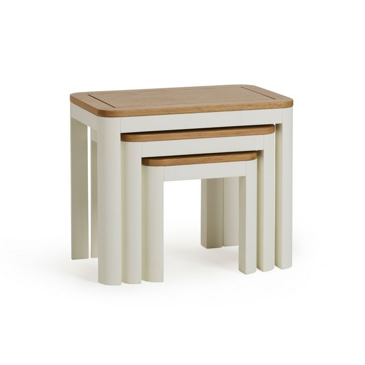 Hove Natural Oak and Painted Nest of 3 Tables
