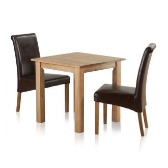 "Hudson Natural Solid Oak Dining Set - 2ft 6"" Table with 2 Scroll Back Brown Leather Chairs"