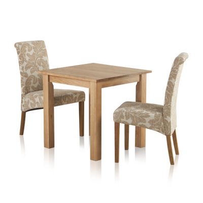 "Hudson Natural Solid Oak Dining Set - 2ft 6"" Table with 2 Scroll Back Patterned Beige Fabric Chairs"