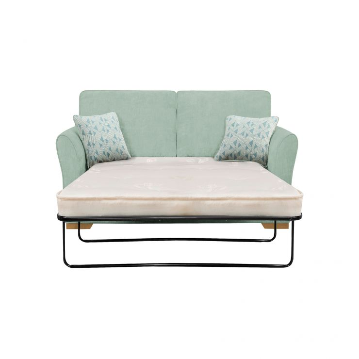Jasmine 2 Seater Sofa Bed with Deluxe Mattress in Cosmo Duck Egg with Bamboo Aqua Scatters - Image 1