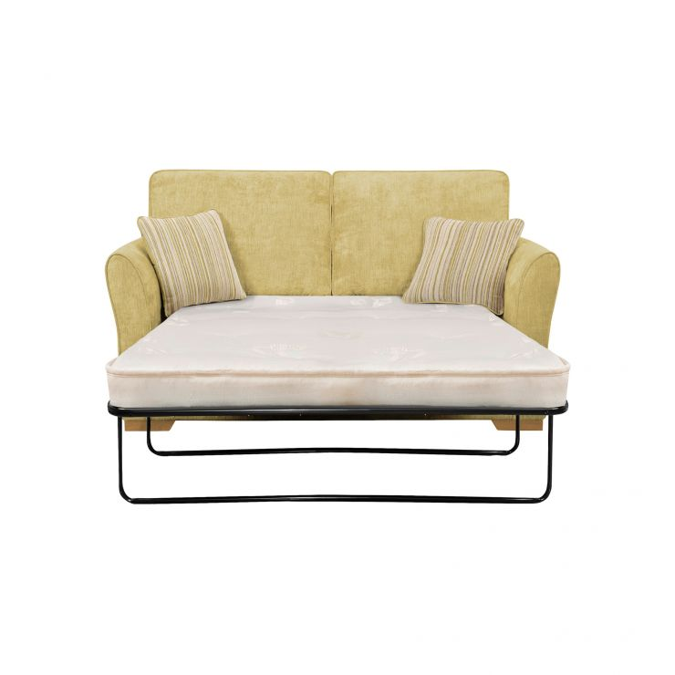 Jasmine 2 Seater Sofa Bed with Deluxe Mattress in Lime with Salsa Summer Scatters - Image 1
