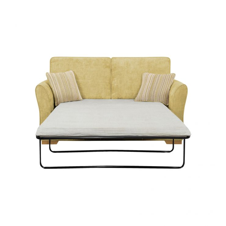 Jasmine 2 Seater Sofa Bed with Standard Mattress in Lime with Salsa Summer Scatters - Image 2