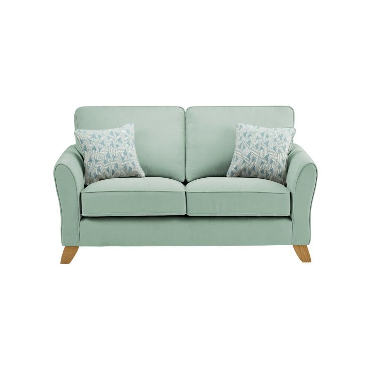 Jasmine 2 Seater Sofa in Cosmo Fabric - Duck Egg with Bamboo Duck Egg Scatters
