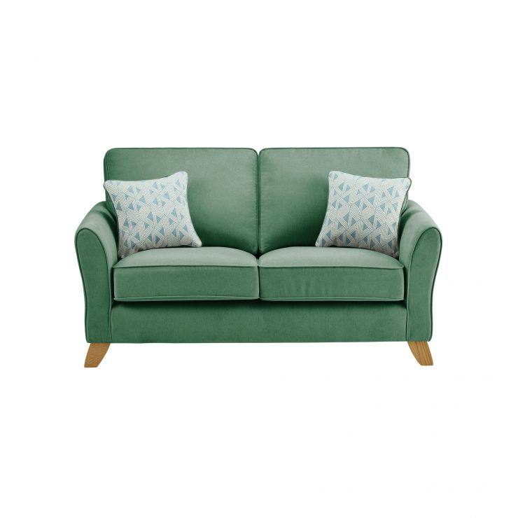 Jasmine 2 Seater Sofa in Cosmo Fabric - Jade with Bamboo Aqua Scatters - Image 1