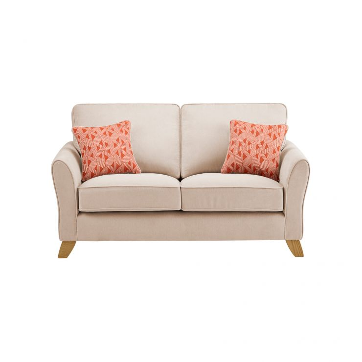 Jasmine 2 Seater Sofa in Cosmo Fabric - Linen with Bamboo Spice Scatters - Image 2