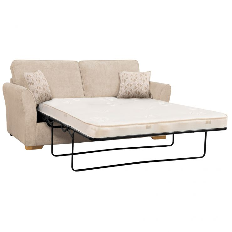 Jasmine 3 Seater Sofa Bed with Deluxe Mattress in Cosmo Linen with Bamboo Taupe Scatters - Image 1