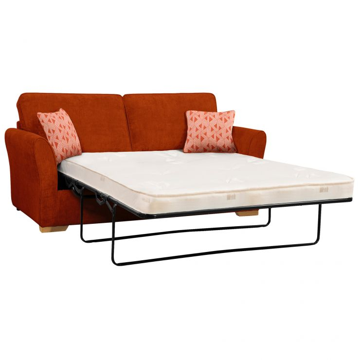 Jasmine 3 Seater Sofa Bed with Deluxe Mattress in Cosmo Spice with Bamboo Spice Scatters - Image 2