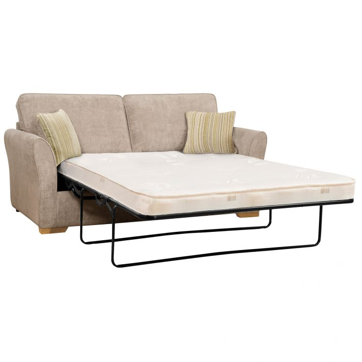 Jasmine 3 Seater Sofa Bed with Deluxe Mattress in Linen with Salsa Summer Scatters - Image 2