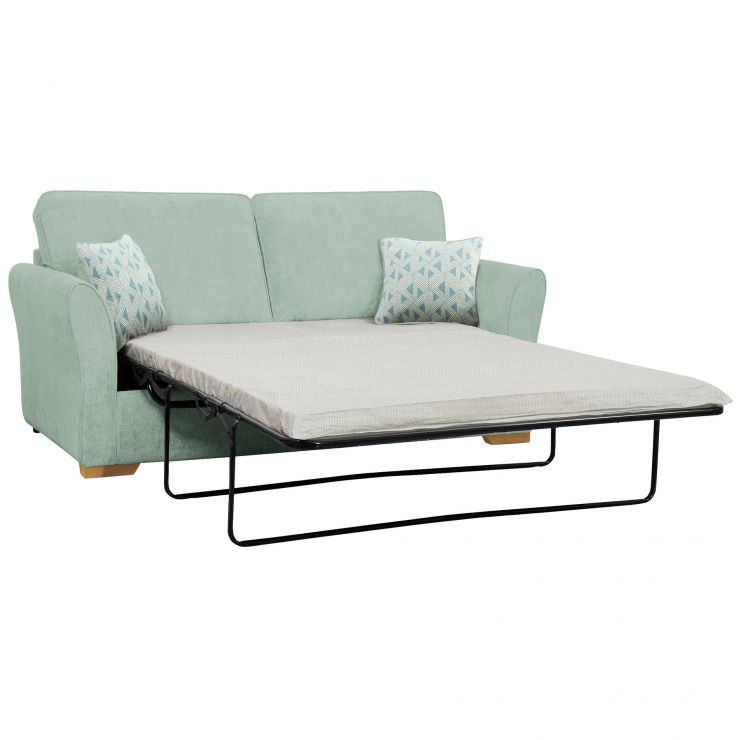 Jasmine 3 Seater Sofa Bed with Standard Mattress in Cosmo Duck Egg with Bamboo Aqua Scatters - Image 1