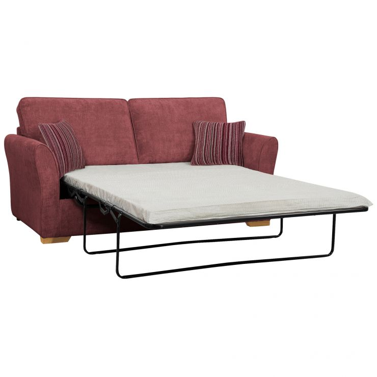 Jasmine 3 Seater Sofa Bed with Standard Mattress in Plum with Raspberry Scatters - Image 2