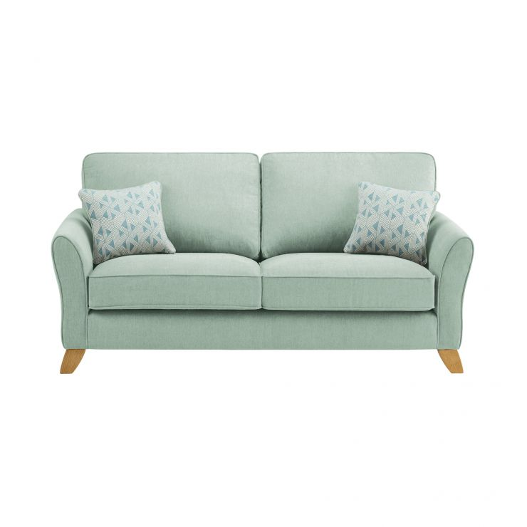 Jasmine 3 Seater Sofa in Cosmo Fabric - Duck Egg with Bamboo Aqua Scatters - Image 1