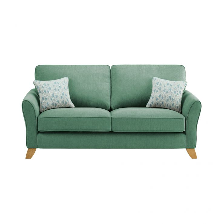 Jasmine 3 Seater Sofa in Cosmo Fabric - Jade with Bamboo Aqua Scatters - Image 1