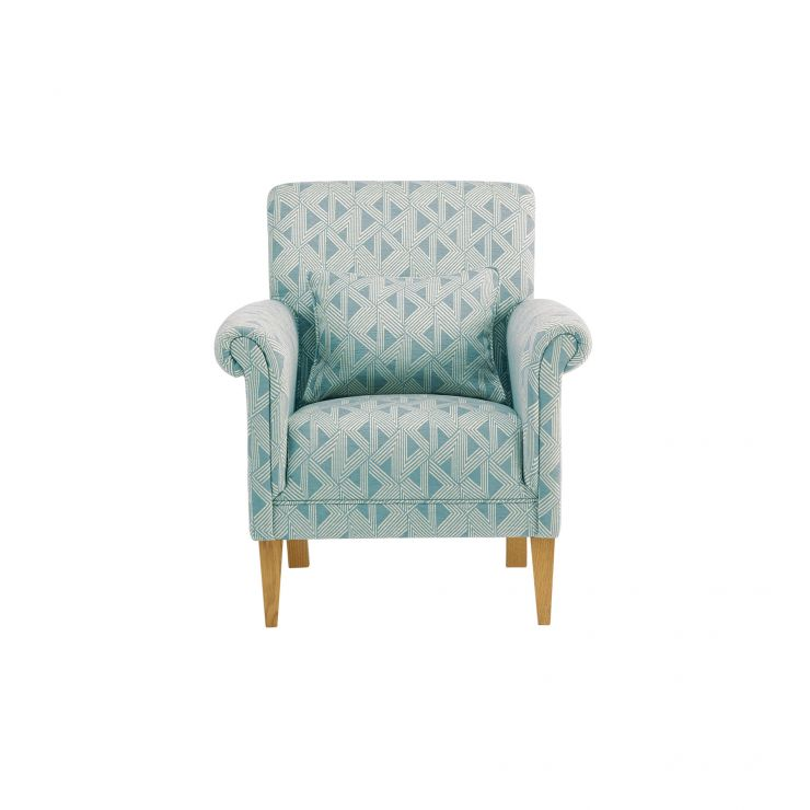 Jasmine Accent Chair in Duck Egg with Bamboo Aqua Fabric with Duck Egg Bamboo Aqua Scatter Cushion