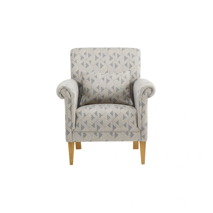 Jasmine Accent Chair in Bamboo Slate Fabric with Bamboo Slate Scatter Cushion