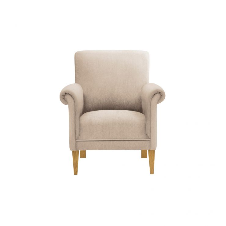 Jasmine Accent Chair in Bamboo Taupe Linen with Bamboo Taupe Linen Scatter Cushion - Image 2