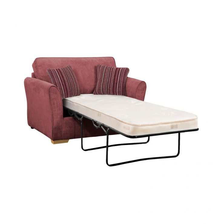 Jasmine Armchair Sofa Bed with Deluxe Mattress in Plum with Raspberry Scatters