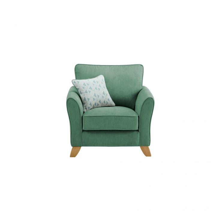 Jasmine Armchair in Cosmo Fabric - Jade with Bamboo Aqua Scatters - Image 1