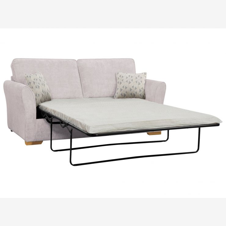 Jasmine 3 Seater Sofa Bed with Standard Mattress in Cosmo Silver with Bamboo Slate Scatters