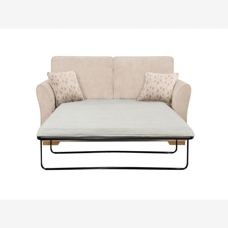 Jasmine 2 Seater Sofa Bed with Standard Mattress in Cosmo Linen with Bamboo Taupe Scatters
