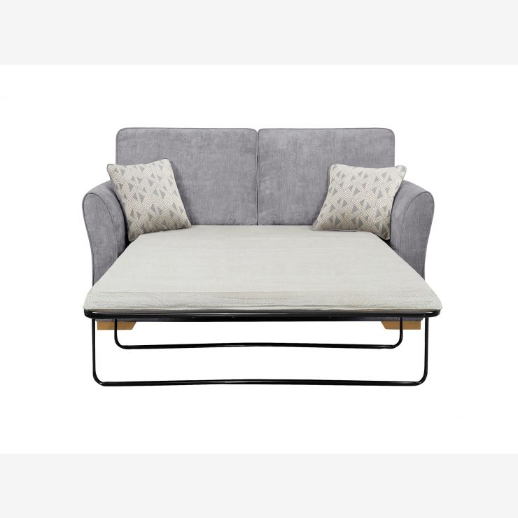Jasmine 2 Seater Sofa Bed with Standard Mattress in Cosmo Pewter with Bamboo Slate Scatters - Image 2