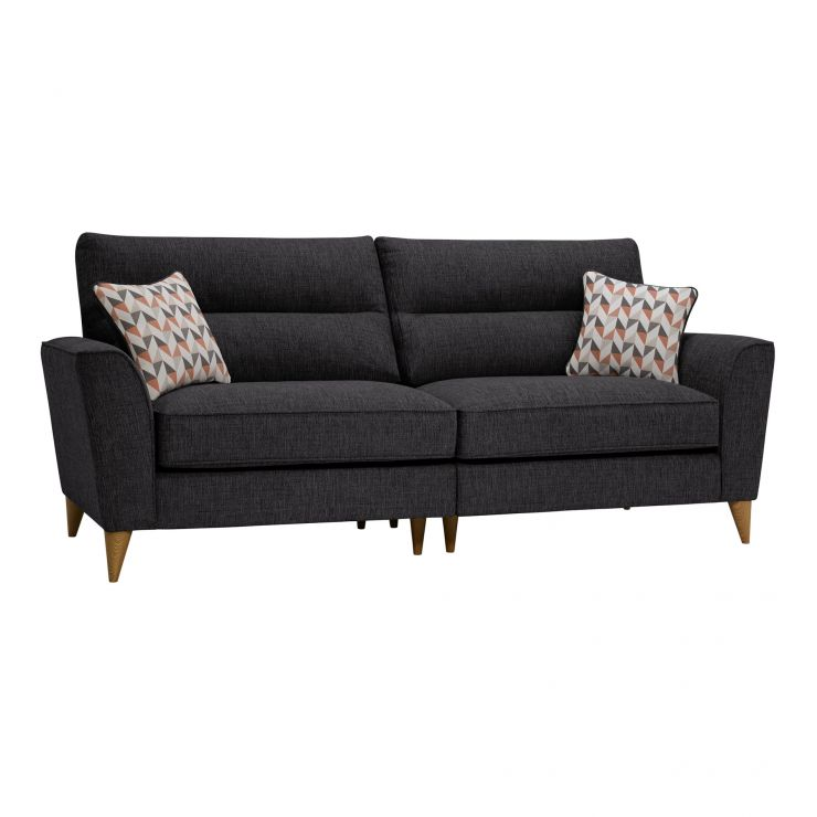 Jensen Black 4 Seater Split Sofa with Coral Accent Cushions