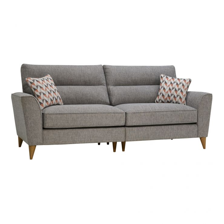 Jensen Silver 4 Seater Split Sofa with Coral Accent Cushions
