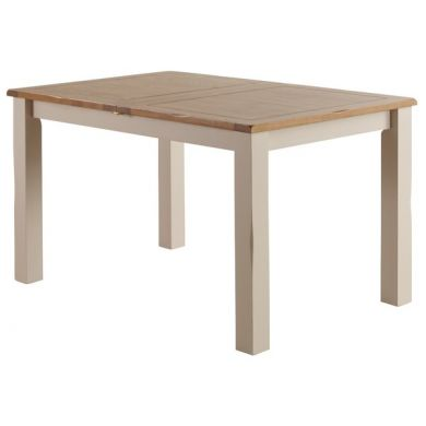 """Kemble Rustic Oak and Painted 4ft 7"""" x 3ft Extending Dining Table"""