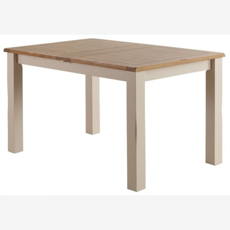 "Kemble Rustic Solid Oak and Painted 4ft 7"" x 3ft Extending Dining Table - Image 7"