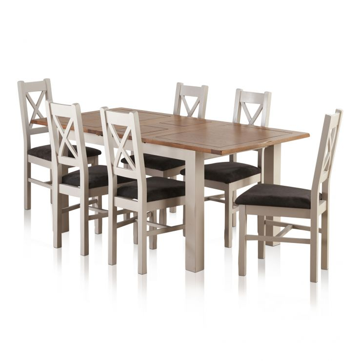 "Kemble Rustic Solid Oak and Painted 4ft 7"" x 3ft Extending Dining Table & 6 Charcoal Kemble Chairs - Image 6"